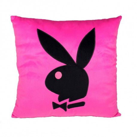 Coussin Playboy carré rose