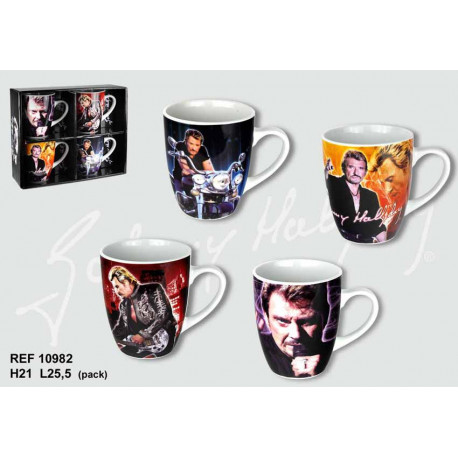 Coffret de 4 mugs coniques Johnny Hallyday