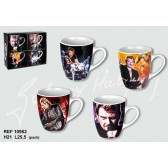 Set of 4 mugs conical Johnny Hallyday