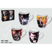 Set of 4 mugs conical Johnny Hallyday