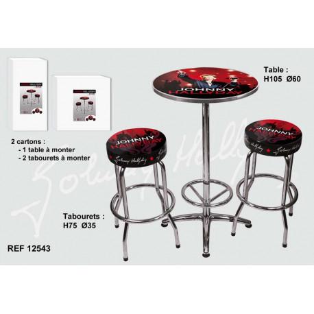Set table + 2 stools bar Johnny Hallyday