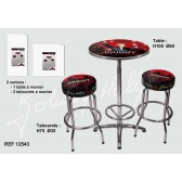 Ensemble table + 2 tabourets bar Johnny Hallyday