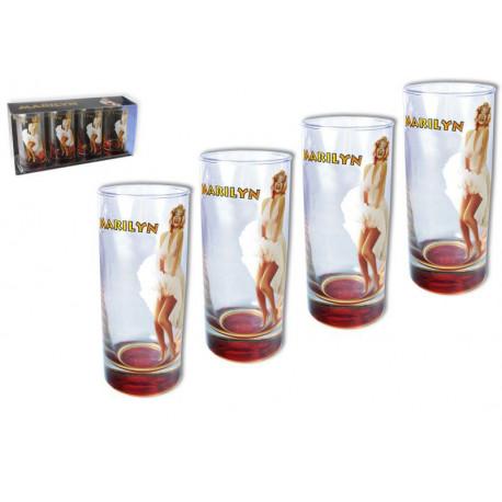 Marilyn Monroe doos met 4 glazen