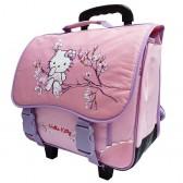 Cartable à roulettes Hello Kitty 38 CM Rose Haut de gamme