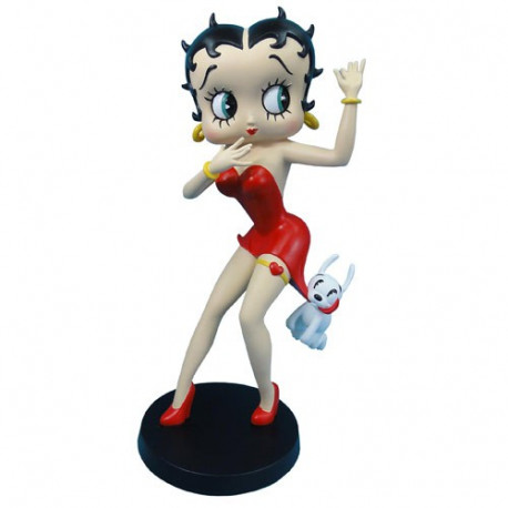 Statuette Betty Boop robe rouge avec Pudgy