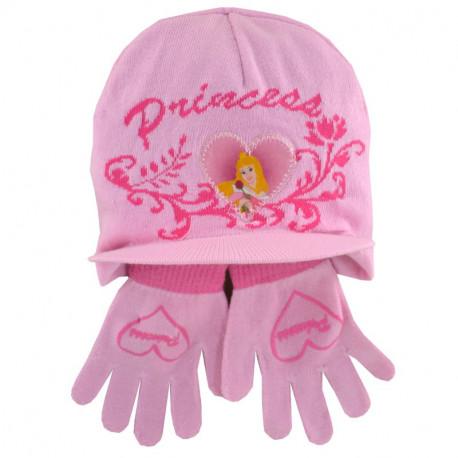 Ensemble bonnet et gants Princesse Rose
