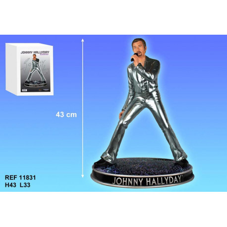Figure Johnny Hallyday silver holding 43 CM
