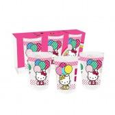 Sacco di 3 bicchieri Hello Kitty palloncini