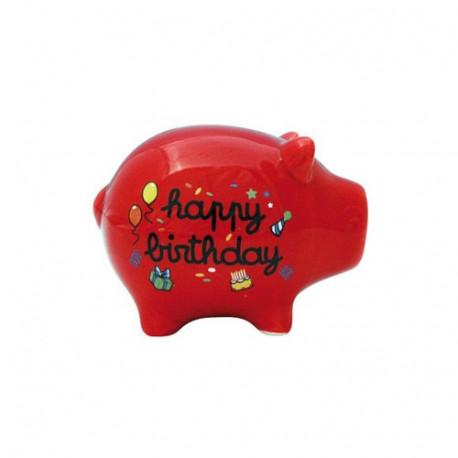 Aniversario de hucha cerdo rojo