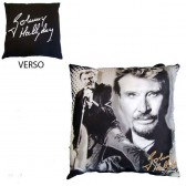 Johnny Hallyday black & white cushion