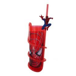 Glass Spiderman PVC with straw
