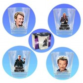 Glas whisky Johnny Hallyday set van 4