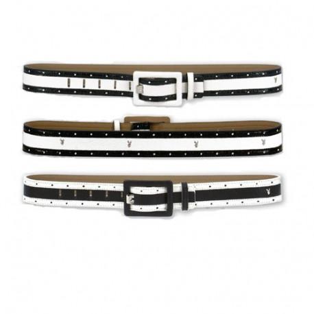 Cinturón de mujer independiente de Playboy - color: blanco-negro-blanco - tamaño: S