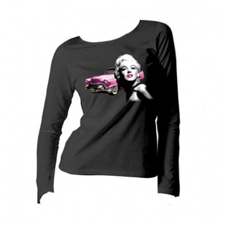Tee shirt Marilyn Monroe Legend manches longues - Taille : L - couleur : Blanc
