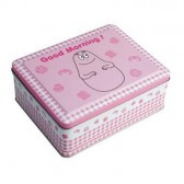 Metal box candy floss pink gingham