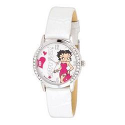 Reloj pulsera de cuero blanco Betty Boop