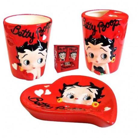 Set salle de bain Betty Boop rouge