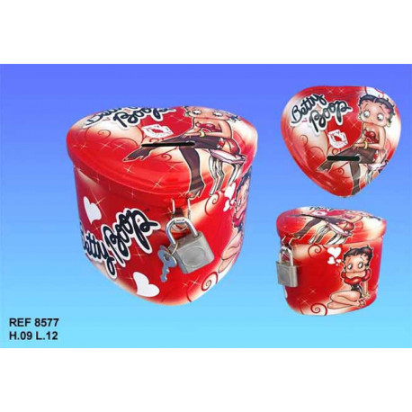 Piggy bank metal Betty Boop heart