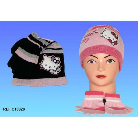 Mütze + Handschuhe Hello Kitty - Farbe: Rosa