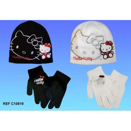 Bonnet + gants Hello Kitty - couleur : Blanc