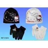 Mütze + Handschuhe Hello Kitty - Farbe: schwarz