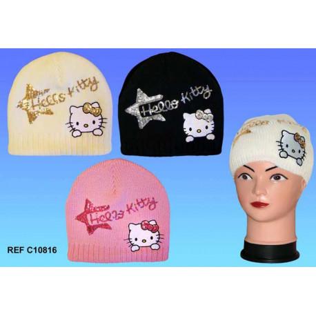 Bonnet laine Hello Kitty - couleur : Jaune