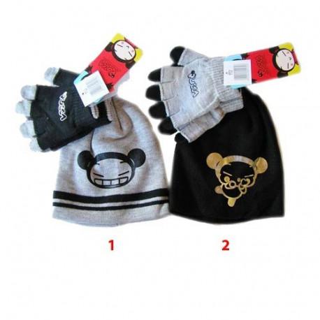 Cap + gloves Pucca - color: grey
